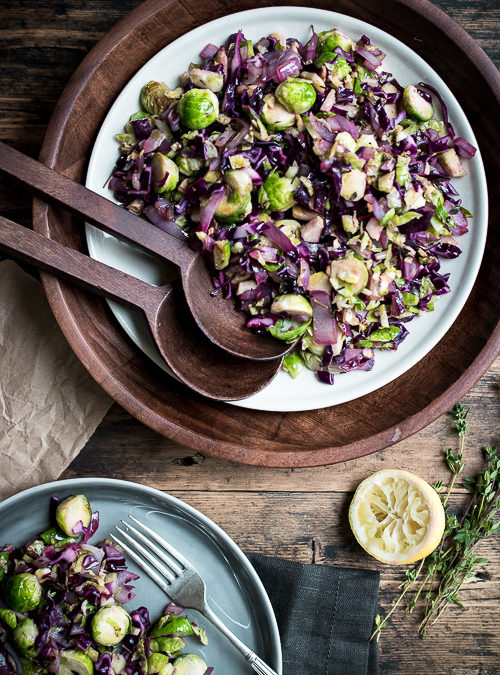 Purple Cabbage and Brussels Sprouts Winter Salad