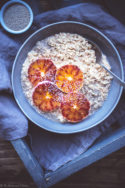 Creamy Porridge Oats topped with Blood Red Oranges and White Chia