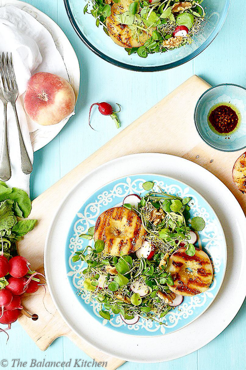 Summer Griddled Peaches with Watercress, Balsamic dressed Salad