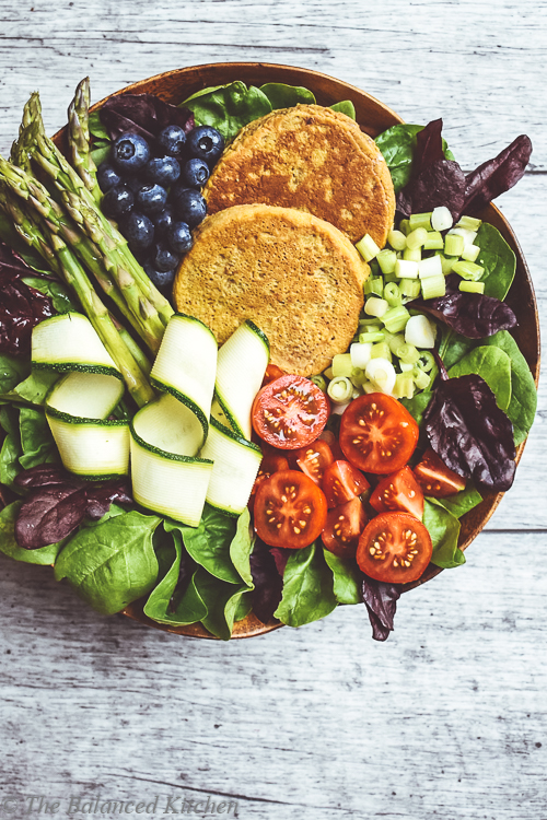 Sweet Potato Pancake, Asparagus & Blueberry Buddha Bowl