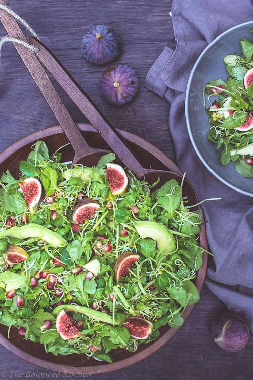 Fig , Avocado and Pomegranate, Green Leaf Salad
