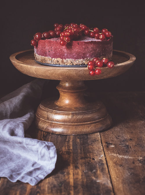 Raspberry Raw Cheesecake with a Chocolate, Oat & Nut Base