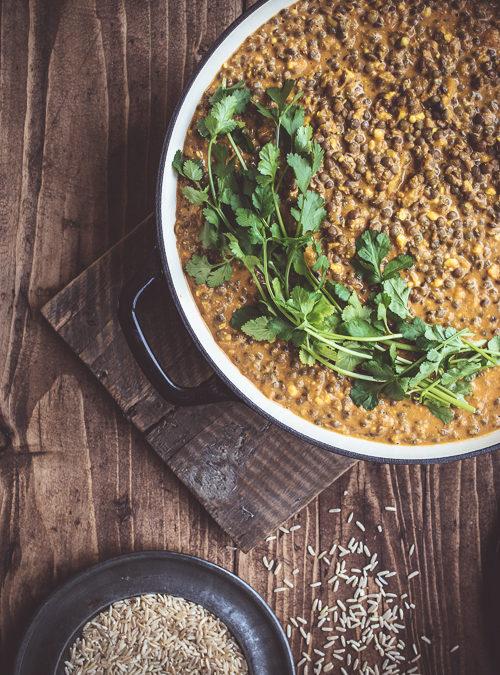 Mixed Lentil Dal Tikka Masala with fresh coriander
