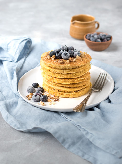 Sweet Chickpea Pancakes with Blueberries and Maple Syrup