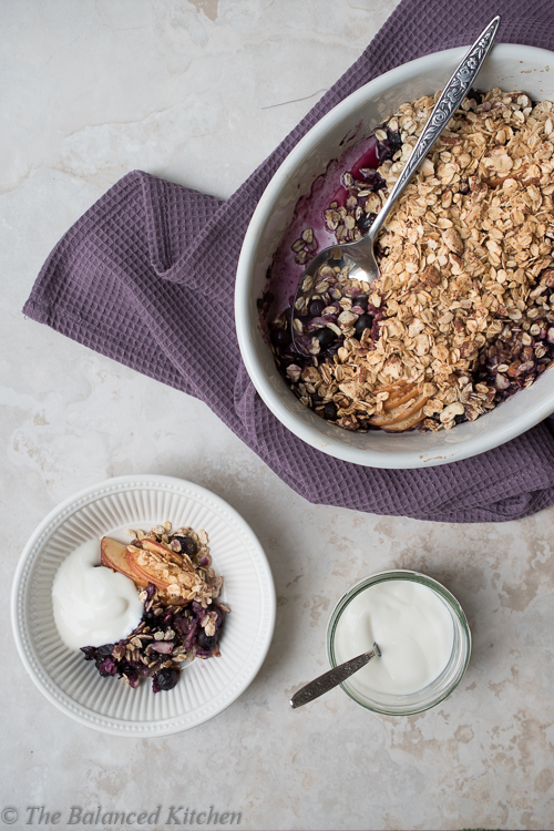 Baked Blackberry & Apple topped with an Almond & Oat Crumble