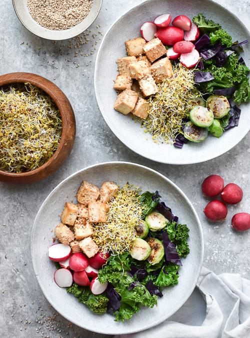 Crispy Sesame Tofu with Sauted Kale, Brussel & Broccoli Sprouts