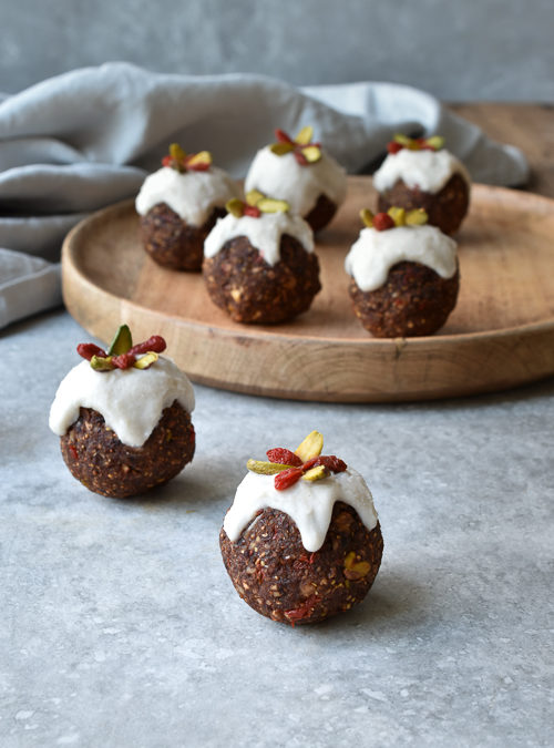 Christmas Figgy Pudding Bliss Balls with Coconut Icing