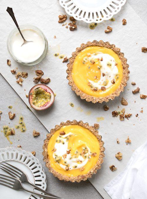 Mango, Passionfruit and Walnut Raw Tarts
