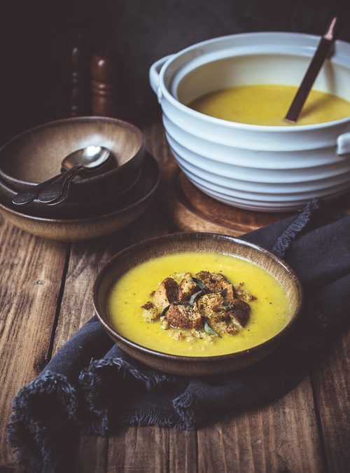 Celeriac & Apple Soup with Garlic and Sage Croutons
