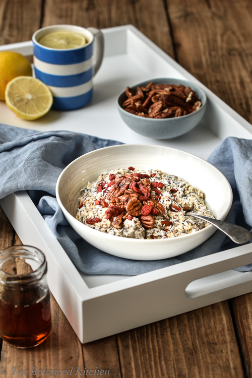 Chia & Coconut Oats topped with Pecans and Goji Berries