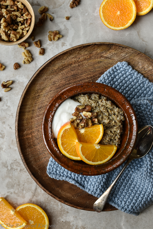 Quinoa Porridge with Yoghurt, Walnuts & Orange