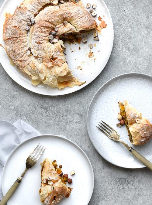 Vegan Lentil, Butternut Squash, Cranberry & Hazelnut Filo Swirl