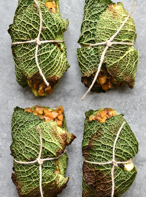 Caramelised Walnut & Butternut Squash, Crinkly Cabbage Parcels