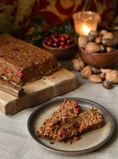 Vegan Walnut, Cranberry and Green Lentil Moist Loaf