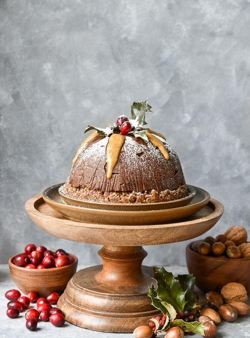 Raw, Vegan Chocolate Christmas Pudding with Date Caramel Sauce