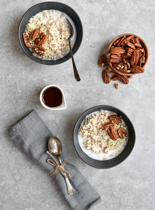 Buckwheat Groats in Coconut Milk with Hemp hearts & Pecans