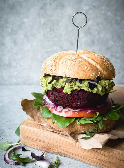 Black Bean & Red Beet Burgers with all the toppings