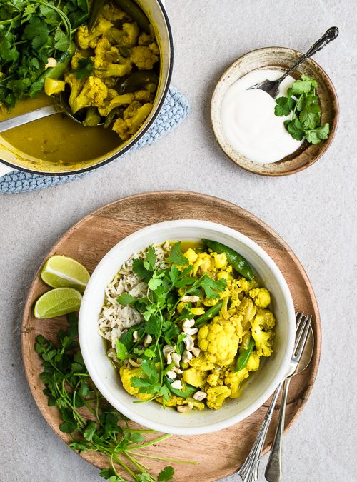 Cauliflower Curry with Brown Rice and Fresh Coriander