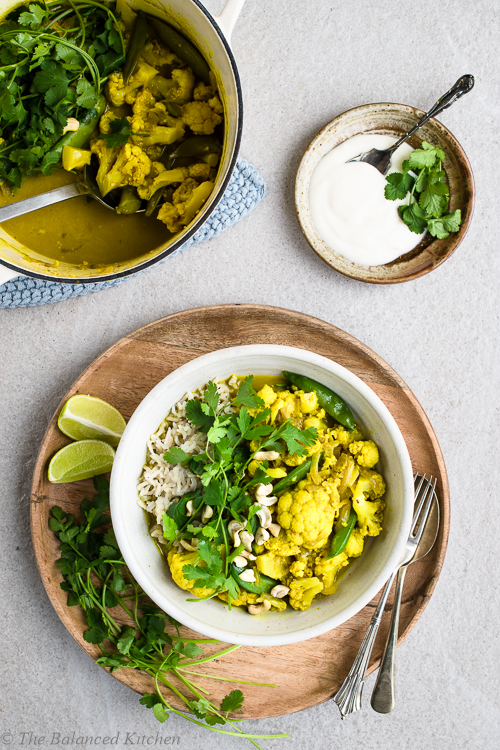 vegan cauliflower curry rice recipe