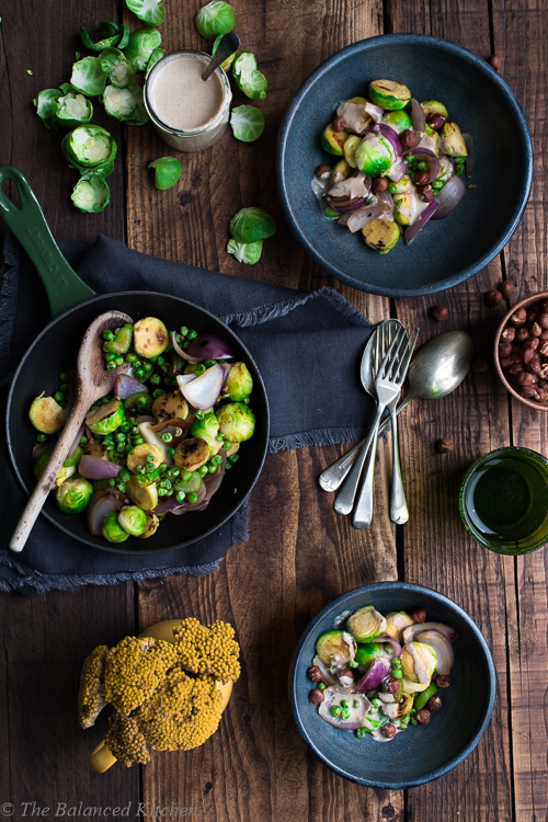 Winter Green Stir Fry with Spicey Tahini Cream Dressing