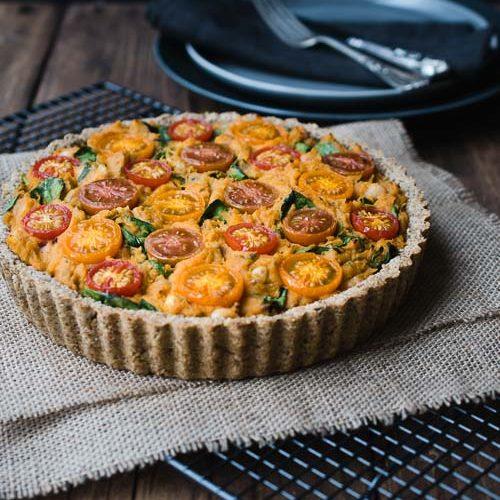 vegan savoury tart sweet potato white beans recipe