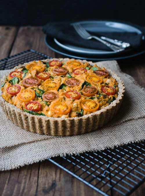 vegan savoury tart sweet potato white beans recipe