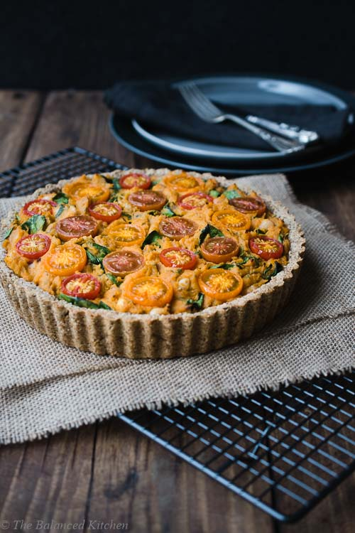 Vegan Sweet Potato, Spinach and Tomato Baked Flan