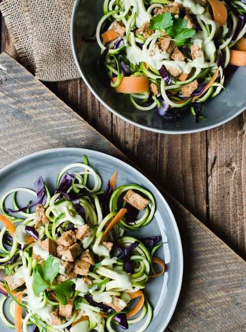 Spiralized Veggies with Marinated Tofu and Tahini Cream