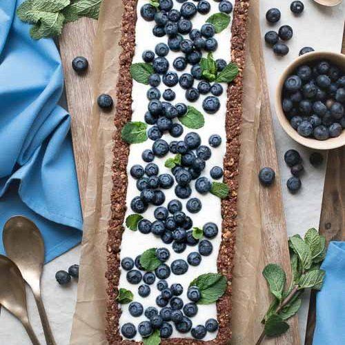 vegan chocolate tart blueberries cream mint recipe