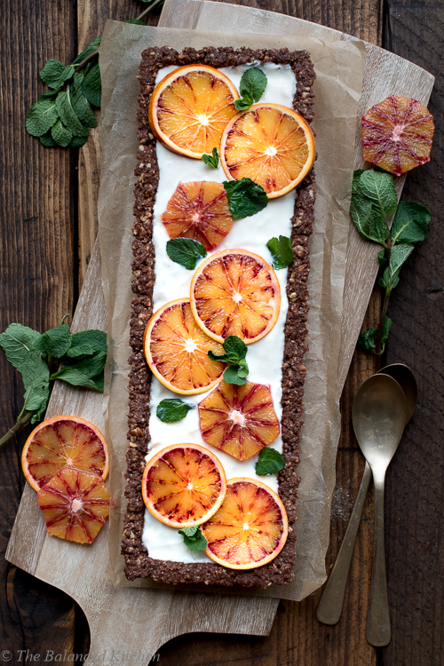 Vegan Chocolate Orange Tart with Blood Oranges & Mint