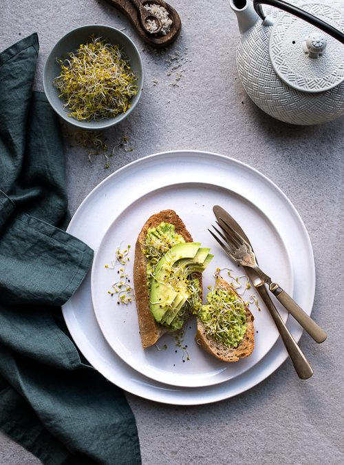 Smashed Avocado Toast with Broccoli Sprouts
