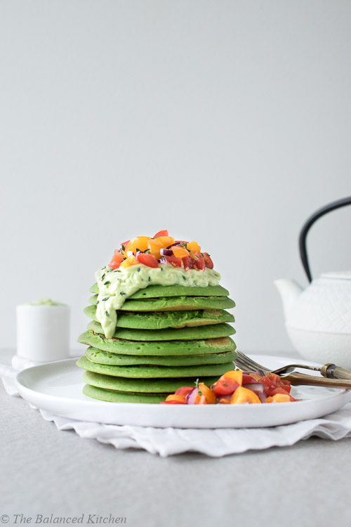 Harissa, 3 Green, Chickpea Pancakes with Avocado Cream