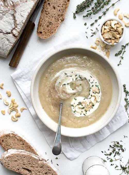 Apple, Celeriac & Artichoke Soup with Thyme