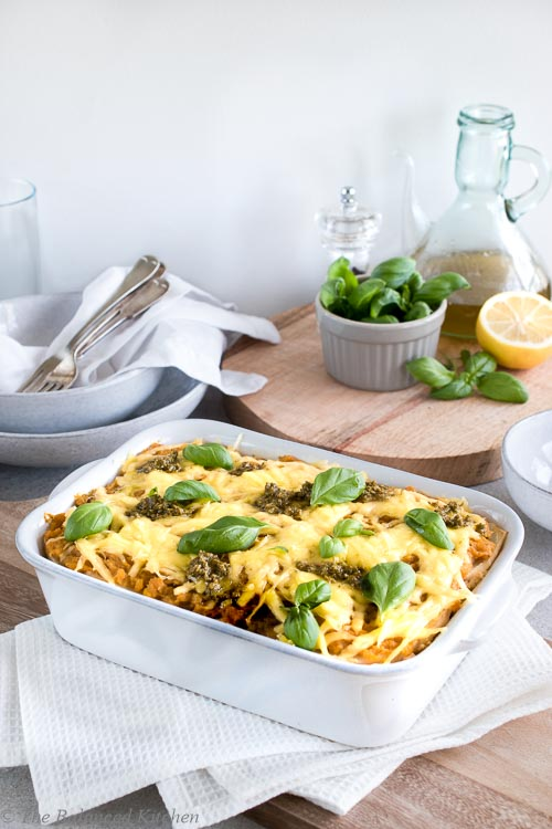 Celeriac, Spinach & Butternut Squash Lasagne with Pesto