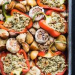 vegan stuffed roasted bell pepper garlic recipe