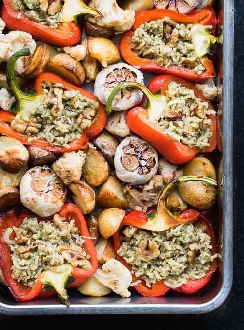 Stuffed Red Peppers, Roasted Garlic, Potatoes & Walnuts