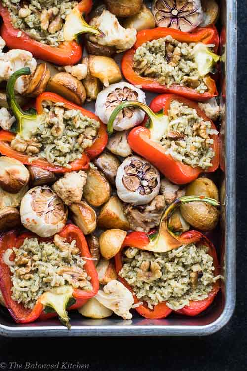 Stuffed Red Peppers, Roasted Garlic, Potatoes & Walnuts
