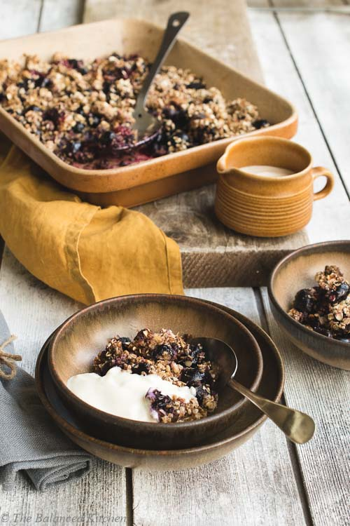 Caramelised Banana topped Grape & Blackberry Crumble