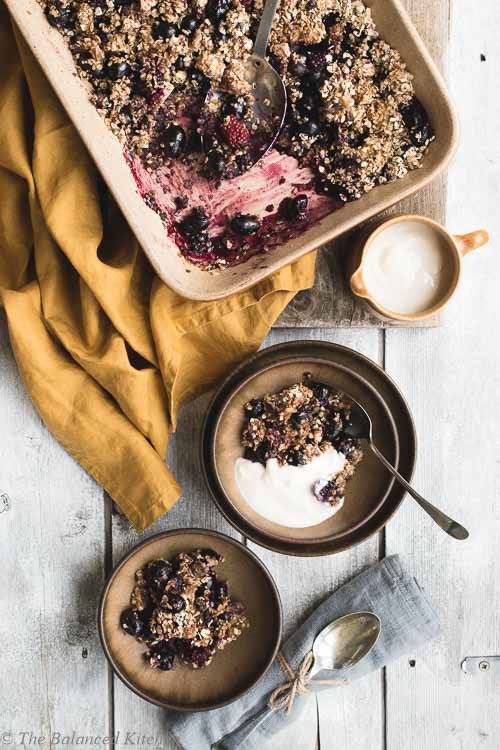 Grape & Blackberry with Caramelized Banana Crumble