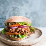 vegan jackfruit burger sourdough bread