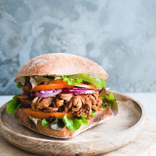 vegan jackfruit burger sourdough bread