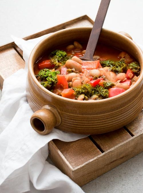 Tuscan Soup with Butter Beans, Kale and Red Pepper