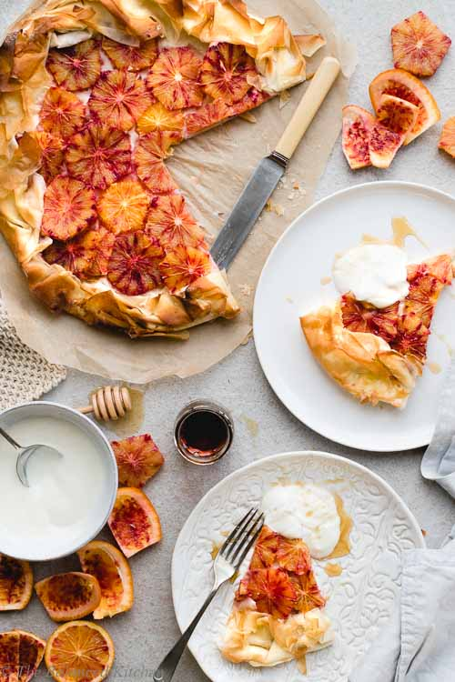 Vegan Blood Orange & Maple Syrup Filo Pastry Tart