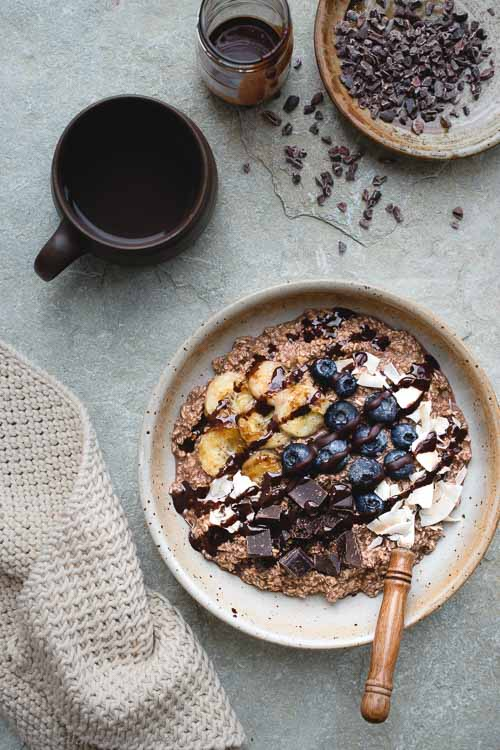 Triple Chocolate Oats with Caramelised Banana Bowl