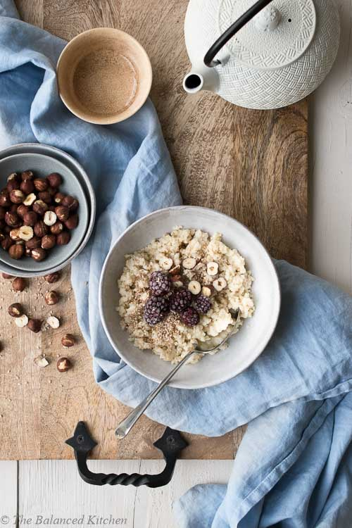 Millet & Oat Porridge with Blackberries, Hazelnuts & Sesame