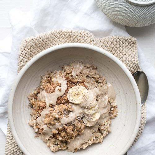 vegan breakfast, buckwheat, maca, tahini