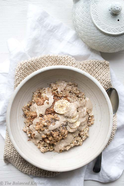 Buckwheat & Oat Porridge with Creamy Tahini, Cacao & Maca
