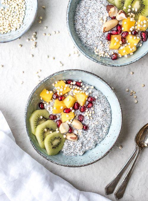 Chia Pudding Bowls with Mango, Pomegranate and Kiwi