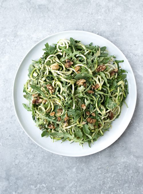 Courgette, Rocket, Broccoli Sprouts & Walnut with Coriander Cream