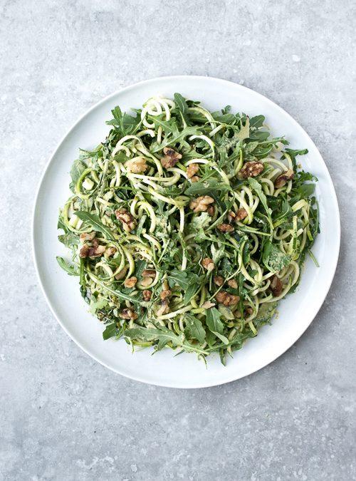 Courgette, Rocket, Broccoli Sprouts & Walnut with Coriander Cream